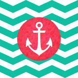 Simple geometric nautical card with anchor Stock Photo