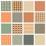 Simple geometric patterns. Vector backgrounds, 16 simple geometric seamless patterns Royalty Free Stock Image