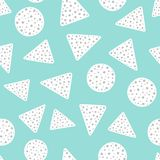 Simple geometric seamless pattern with circles and triangles. Drawn by hand. Cute vector illustration stock illustration