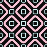 Simple geometric seamless pattern. Girl print with squares and rhombus. Black, turquoise, pink. Simple geometric seamless pattern. Girl print with squares and stock illustration