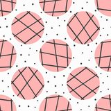 Simple geometric seamless pattern. Polka dot and circles with lines drawn by hand. Endless girly print. Modern vector illustration Royalty Free Stock Photography