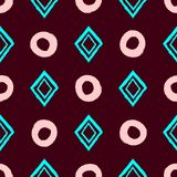 Simple geometric seamless pattern with repeating circles and rhombuses drawn by hand with rough brush. Grunge, sketch, watercolour, paint. Girlish vector royalty free illustration