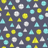 Simple geometric seamless pattern. Repeating circles and triangles with lines drawn by hand. Colorful endless print. Vector illustration. Purple, yellow, white Royalty Free Stock Photo