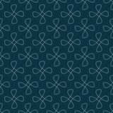 Simple geometric seamless pattern. Rounded white geometric shapes on dark blue background royalty free illustration