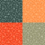 Simple geometric seamless pattern set. Rounded white geometric shapes on colors background vector illustration
