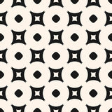 Simple geometric seamless pattern, vector minimalist monochrome. Texture with circles and outline rounded squares. Modern abstract repeat background. Design royalty free illustration