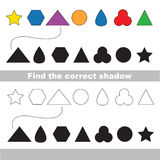 Simple geometric shapes set. Find correct shadow. Royalty Free Stock Photo