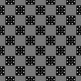 Simple geometric square diagonal,dots black and white seamless vector print stock illustration
