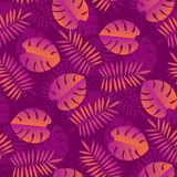 Simple geometric tropical seamless pattern. Jungle leaves abstract repeatable motif for surface design. Purple foliage endless rapport for background, wrapping Royalty Free Stock Images