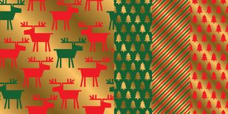 Simple geometric xmas repeatable pattern set. Classic red and green with gold seamless Christmas motif for background, wrapping paper, fabric, surface design Royalty Free Stock Images