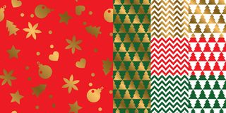 Simple geometric xmas repeatable pattern set. Classic red and green with gold seamless Christmas motif for background, wrapping paper, fabric, surface design Stock Photography
