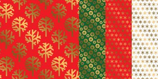 Simple geometric xmas repeatable pattern set. Classic red and green with gold seamless Christmas motif for background, wrapping paper, fabric, surface design Royalty Free Stock Photo