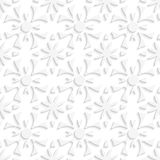 Simple geometrical white repainting flowers seamless Stock Images