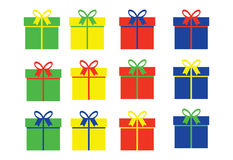 Simple gift boxes in four color variations Royalty Free Stock Photos