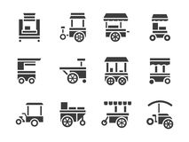 Simple glyph food trolley icons set Stock Photography