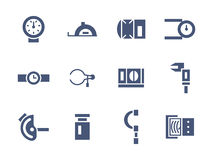 Simple glyph measuring tools icons set Royalty Free Stock Photography