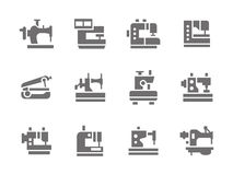 Simple glyph sewing machines icons set Royalty Free Stock Photo