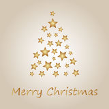 Simple gold christmas tree from stars. Merry christmas card stock illustration