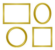 Simple golden frame. Set of simple golden frame. Vector illustration Stock Photos