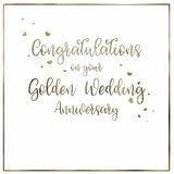 Simple, Golden Wedding  Anniversary Card Stock Images