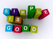 Simple is good. Text 'simple is good' inscribed in uppercase letters on colorful wooden blocks in 3D, white background Stock Photo