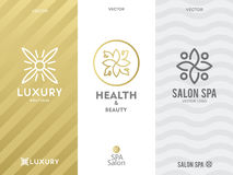 Simple and graceful floral monogram design template, Elegant lineart logo design template, vector icon illustration Stock Photo