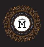 Simple and graceful floral monogram design template. Elegant lineart logo design, vector illustration. Luxury elegant frame ornament line. Good for Royal sign royalty free illustration