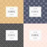 Simple and graceful floral pattern design template, Elegant lineart logo design, vector icon illustration. Modern Style Royalty Free Stock Photos