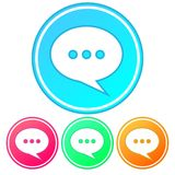 Simple, gradient, circular speech bubble icon. Conversation/talking icon. Four variations stock illustration