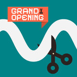 Simple Grand Opening Flat Design Card. With Scissors Stock Photo