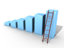 Simple graph with ladder. 3d blue bar graph and a ladder Royalty Free Stock Photos