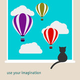 Simple graphic illustration with black cat sitting on window and watching as the bright hot air balloons floating in the sky
