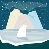 Simple graphic illustration in trendy flat style with white polar bear and ice on the starry sky background for use in design. For card, invitation, poster stock illustration