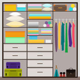 Simple graphic illustration in trrendy flat style with sliding-door wardrobe Royalty Free Stock Photography