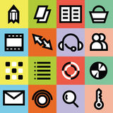 Simple graphic multimedia icons for web page with colorful backgrounds. Outlined Icons of Holidays and Traveling, Business and Economy, Web and Internet, Ecology royalty free illustration