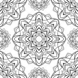 Simple graphic pattern of mandalas. Vector seamless pattern on a white background. Template for textiles, carpets, wallpaper Royalty Free Stock Photo