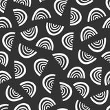 Simple graphic pattern. Seamless doodle black background. Stock Photo