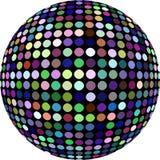 3d disco ball isolated. Purple blue green yellow dots mosaic globe pattern. royalty free illustration