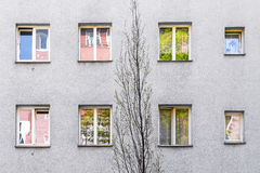 Simple gray facade of a house Stock Images