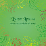 Simple green autumn leaf color border for your text Royalty Free Stock Photography