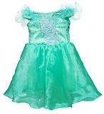 Simple green dress for little girl on white Stock Photography