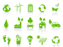Simple green eco icons set Royalty Free Stock Images