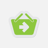 Simple green icon - shopping basket next Royalty Free Stock Photos