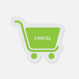 Simple green icon - shopping cart cancel Stock Image