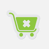 Simple green icon - shopping cart cancel Royalty Free Stock Images