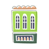 Simple Green Living House, Cute Fairy Tale City Landscape Element Outlined Cartoon Illustration Royalty Free Stock Images