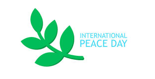 Olive branch and banner for International Peace Day poster Stock Photography