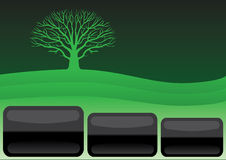 Simple green template. With hill and tree Royalty Free Stock Images