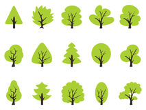 Simple green tree icons set Royalty Free Stock Image