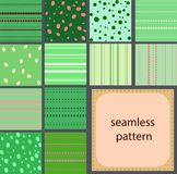 10 simple vintage seamless patterns of dots and stripes. 12 simple green vintage seamless patterns of dots and stripes Royalty Free Stock Image